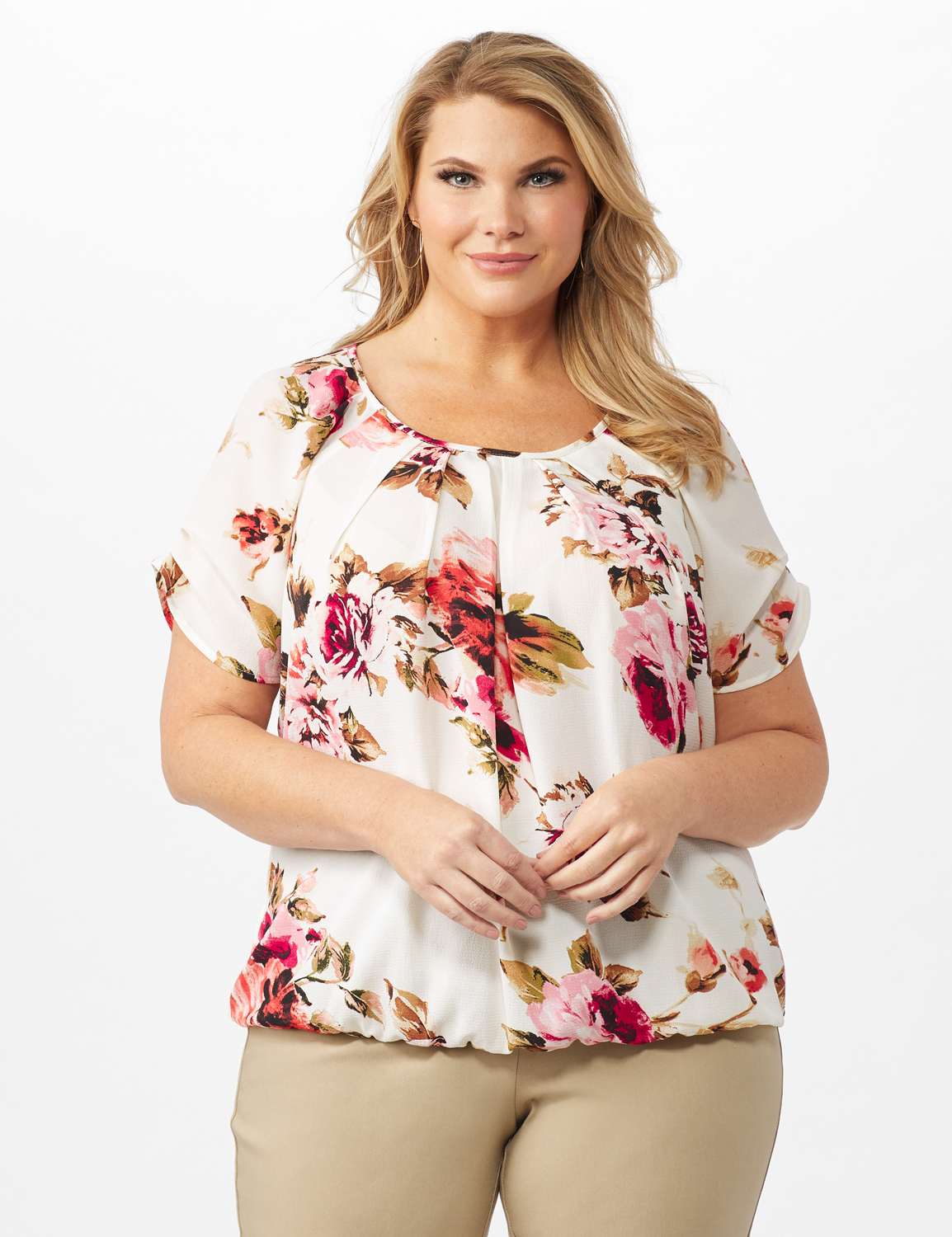 Floral Pleat Neck Bubble Hem -Beige - Front