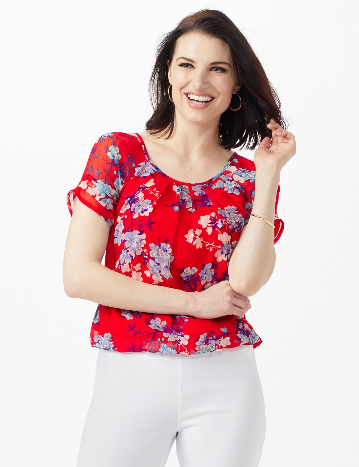 Blue Floral Pleat Neck Bubble Hem -Red - Front