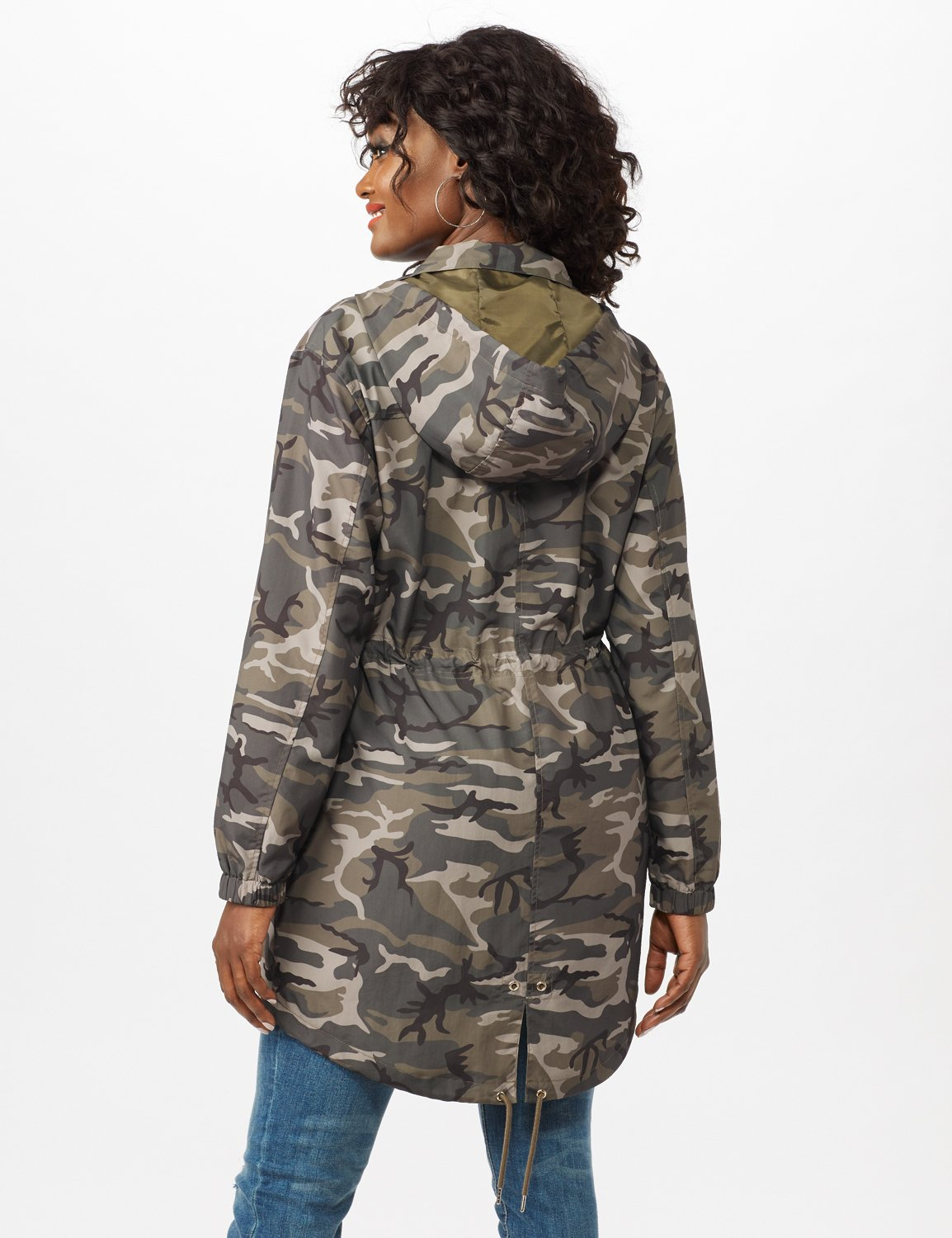 Dry Nylon Camo Zip Front Hooded Utility Jacket with Draw Cord -Olive - Back