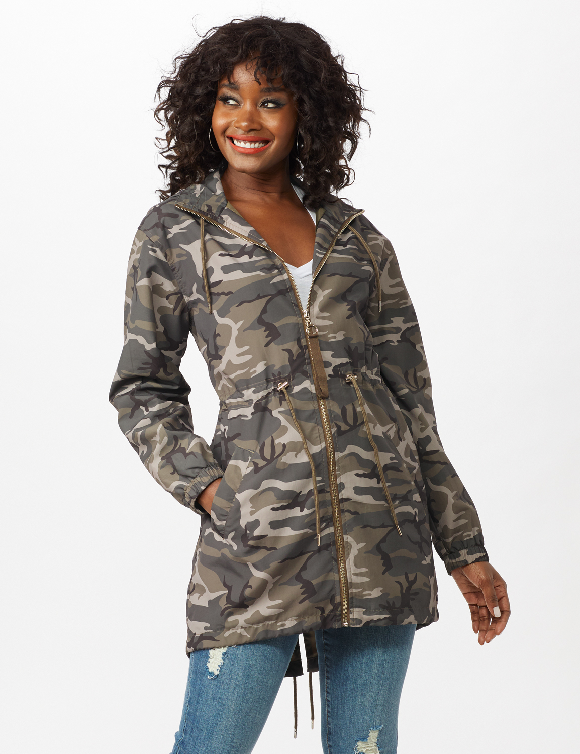 Dry Nylon Camo Zip Front Hooded Utility Jacket with Draw Cord -Olive - Front