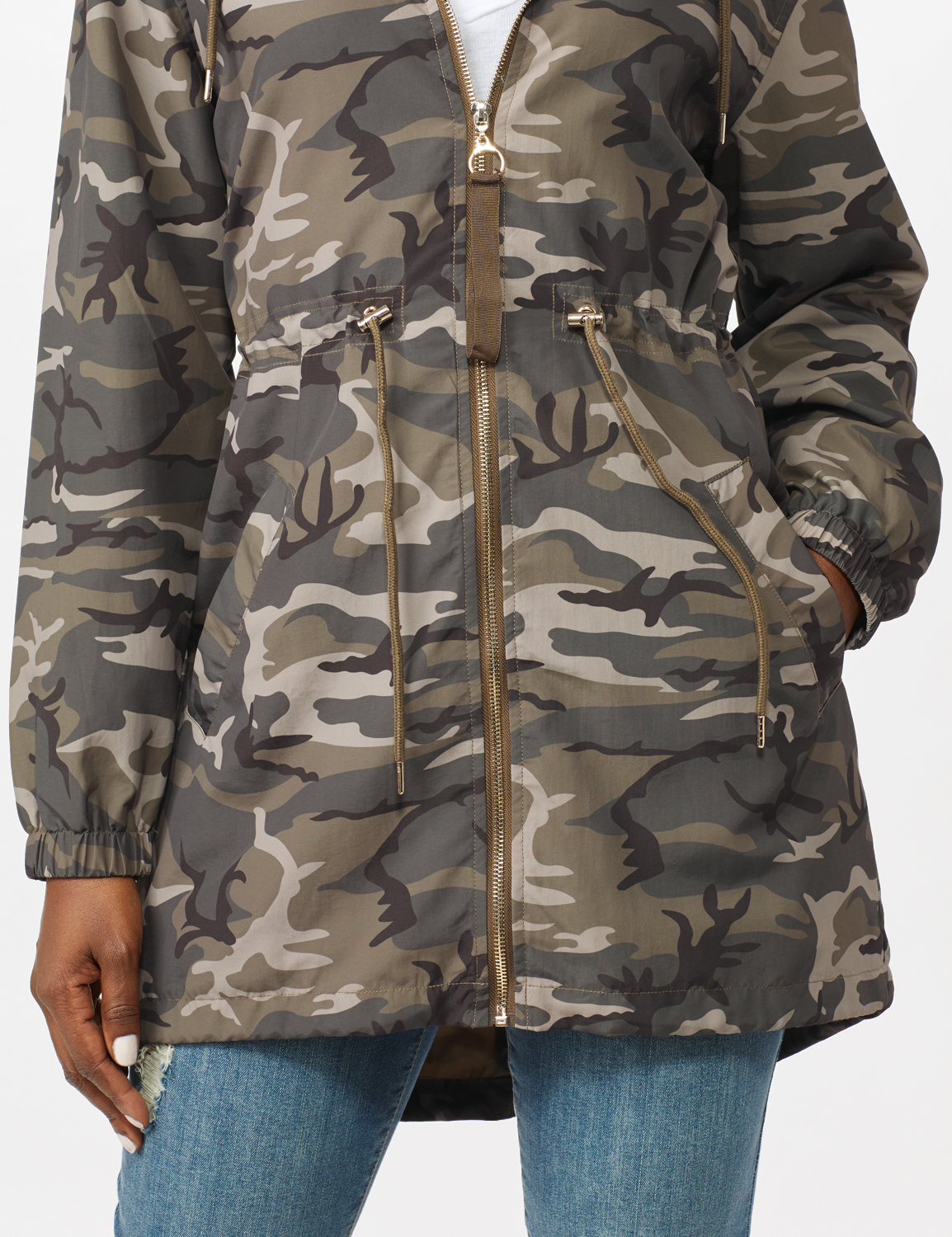 Dry Nylon Camo Zip Front Hooded Utility Jacket with Draw Cord - Olive - Alternate Image