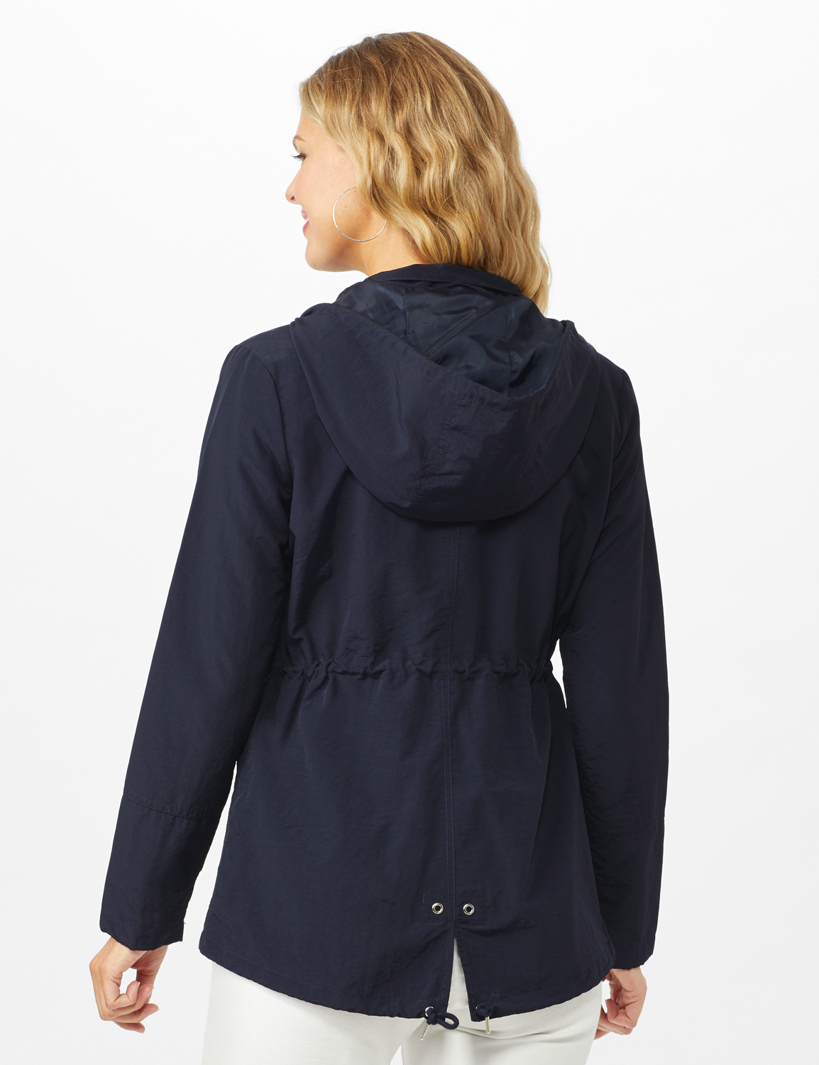 Dry Nylon Hooded Zip Front Utility Jacket with 4 Cargo Pockets and Drawcord -Navy - Back