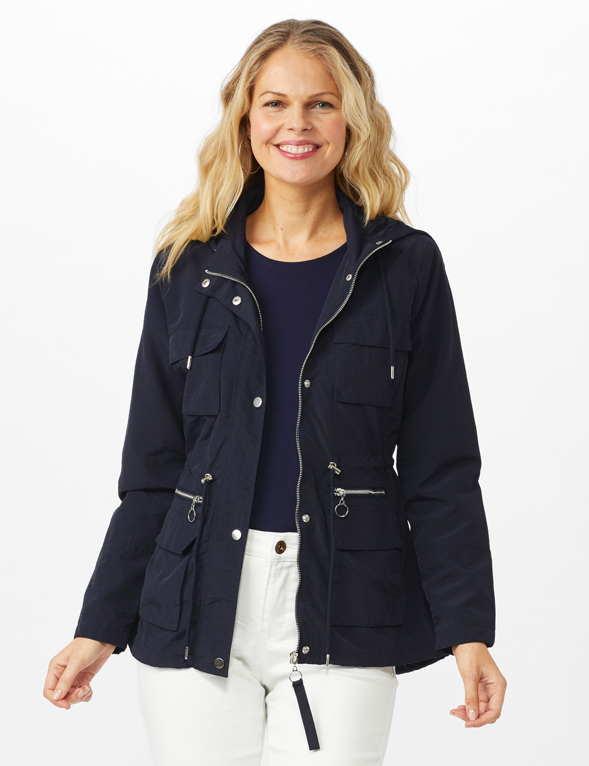 Dry Nylon Hooded Zip Front Utility Jacket with 4 Cargo Pockets and Drawcord -Navy - Front