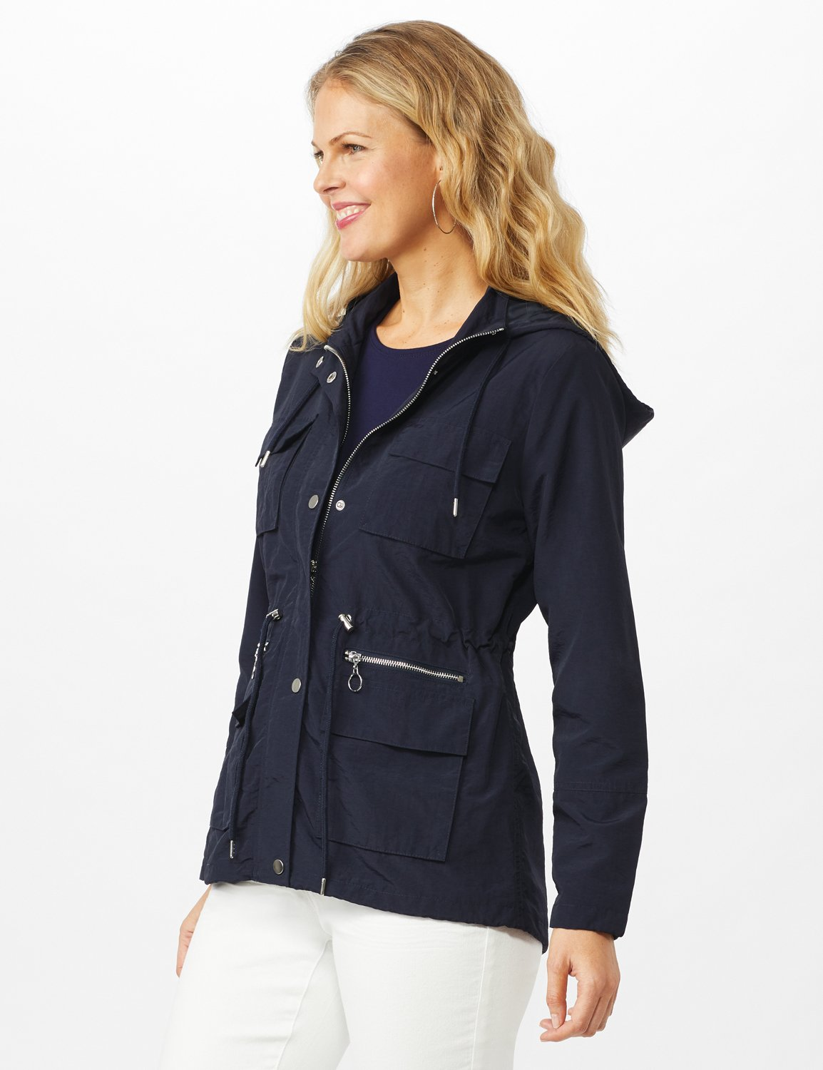 Dry Nylon Hooded Zip Front Utility Jacket with 4 Cargo Pockets and Drawcord - Navy - Alternate Image