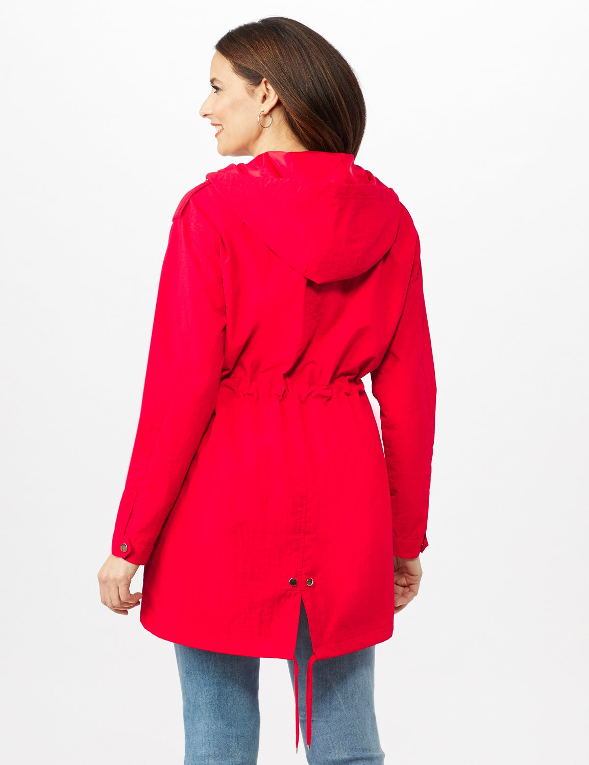 Hooded Zip Front Utility Jacket with Slant, Waist Drawcord, Chest Zip Pockets -R.red - Back