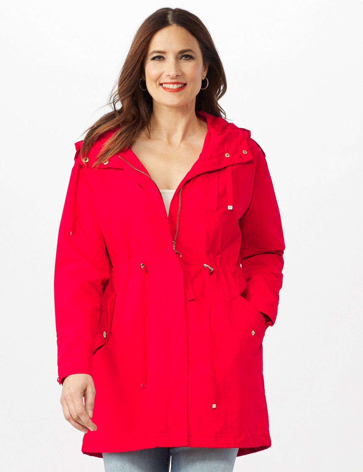 Hooded Zip Front Utility Jacket with Slant, Waist Drawcord, Chest Zip Pockets -R.red - Front