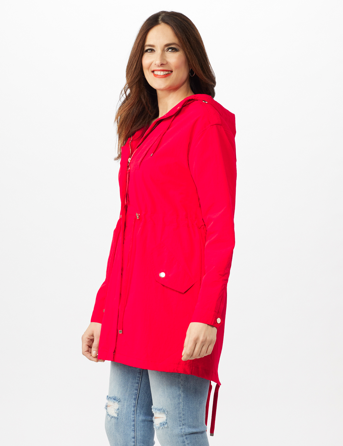 Hooded Zip Front Utility Jacket with Slant, Waist Drawcord, Chest Zip Pockets - R.red - Alternate Image