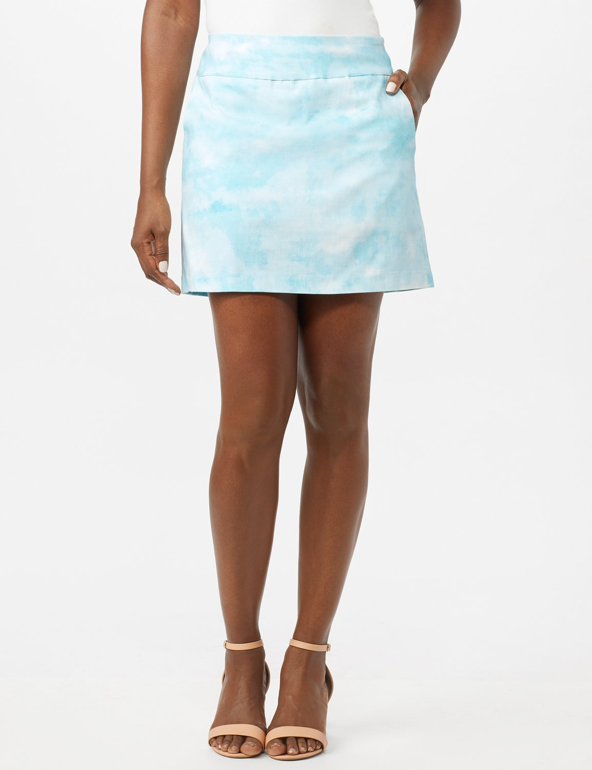 Pull On Tie Dye Skorts with Pockets -Azurine/White - Front