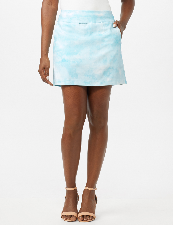Pull On Tie Dye Skorts with Pockets -Azurine/White - Front