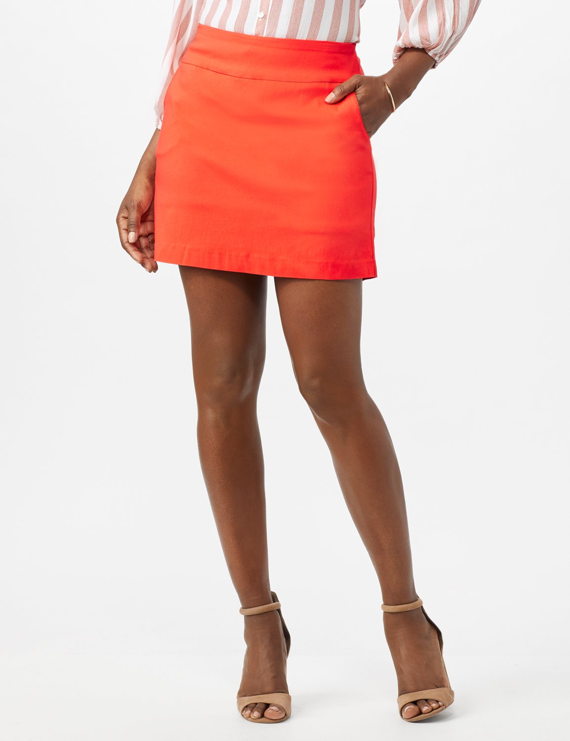 Pull On Solid Skort with Pockets -Coralicious - Front