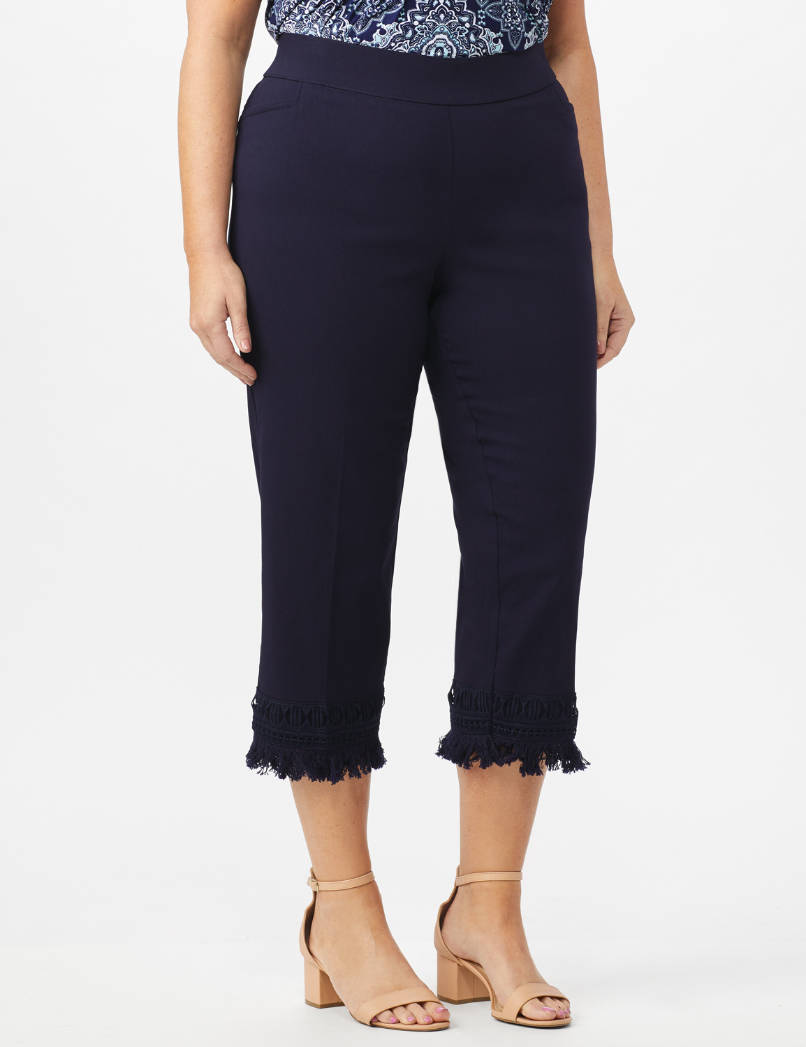Pull On Crop Pants with Fringe Hem Detail -Navy - Front