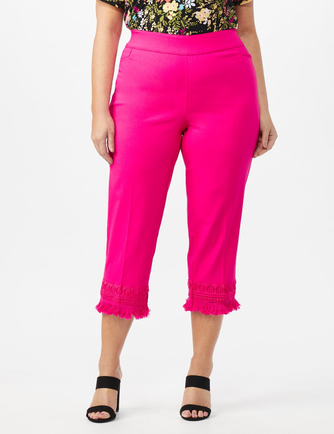 Pull On Crop Pants with Fringe Hem Detail -Watermelon - Front