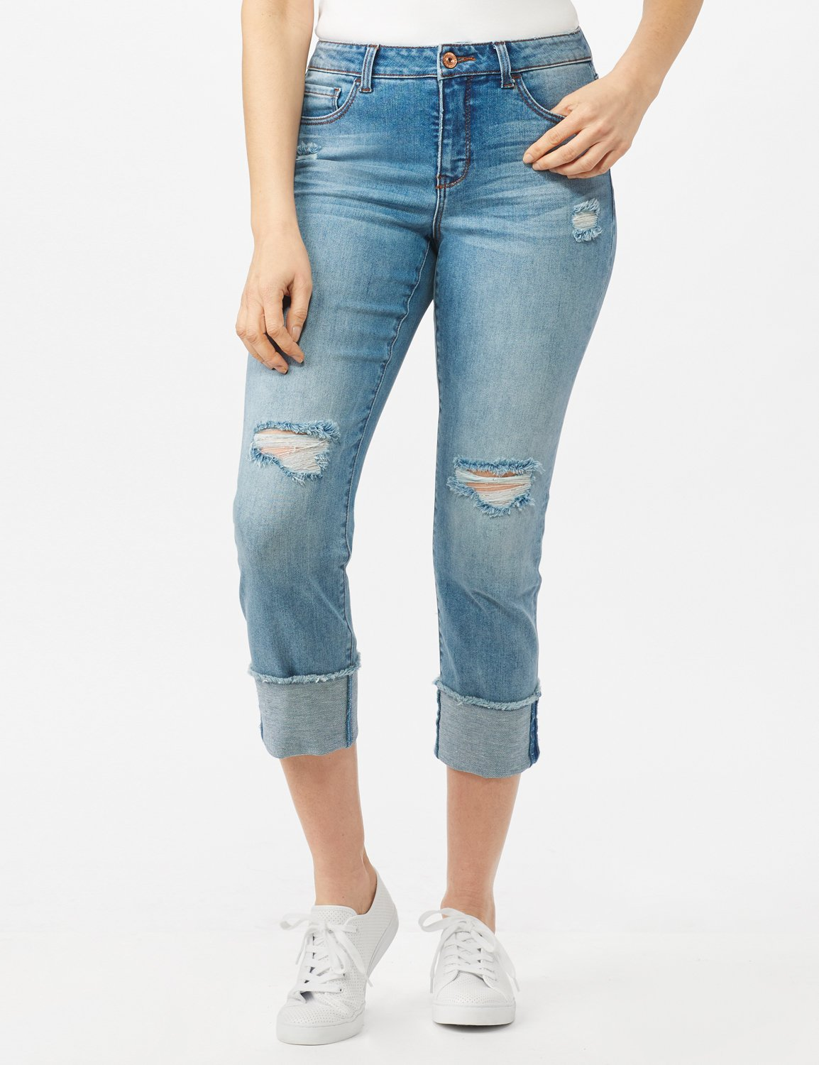 Authentic Stretch Straight Leg Denim Pants with High Fray Cuff -Robin Wash Blue - Front