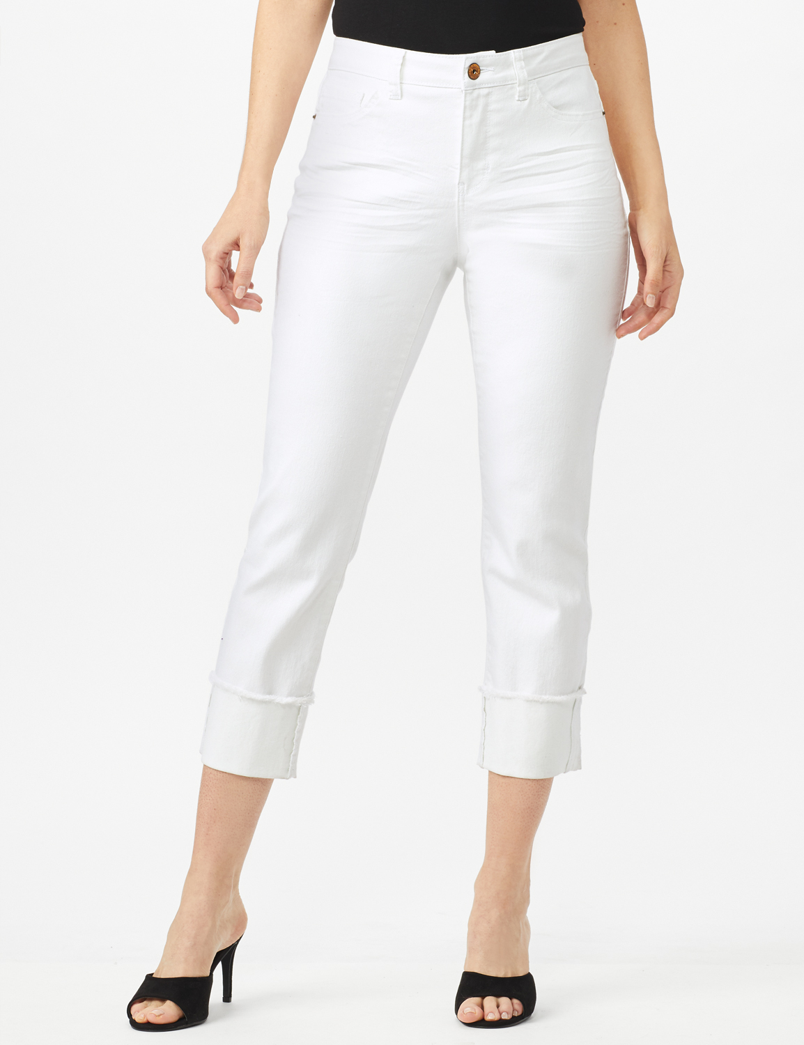 Authentic Stretch Straight Leg Denim Pants with High Fray Cuff -White - Front