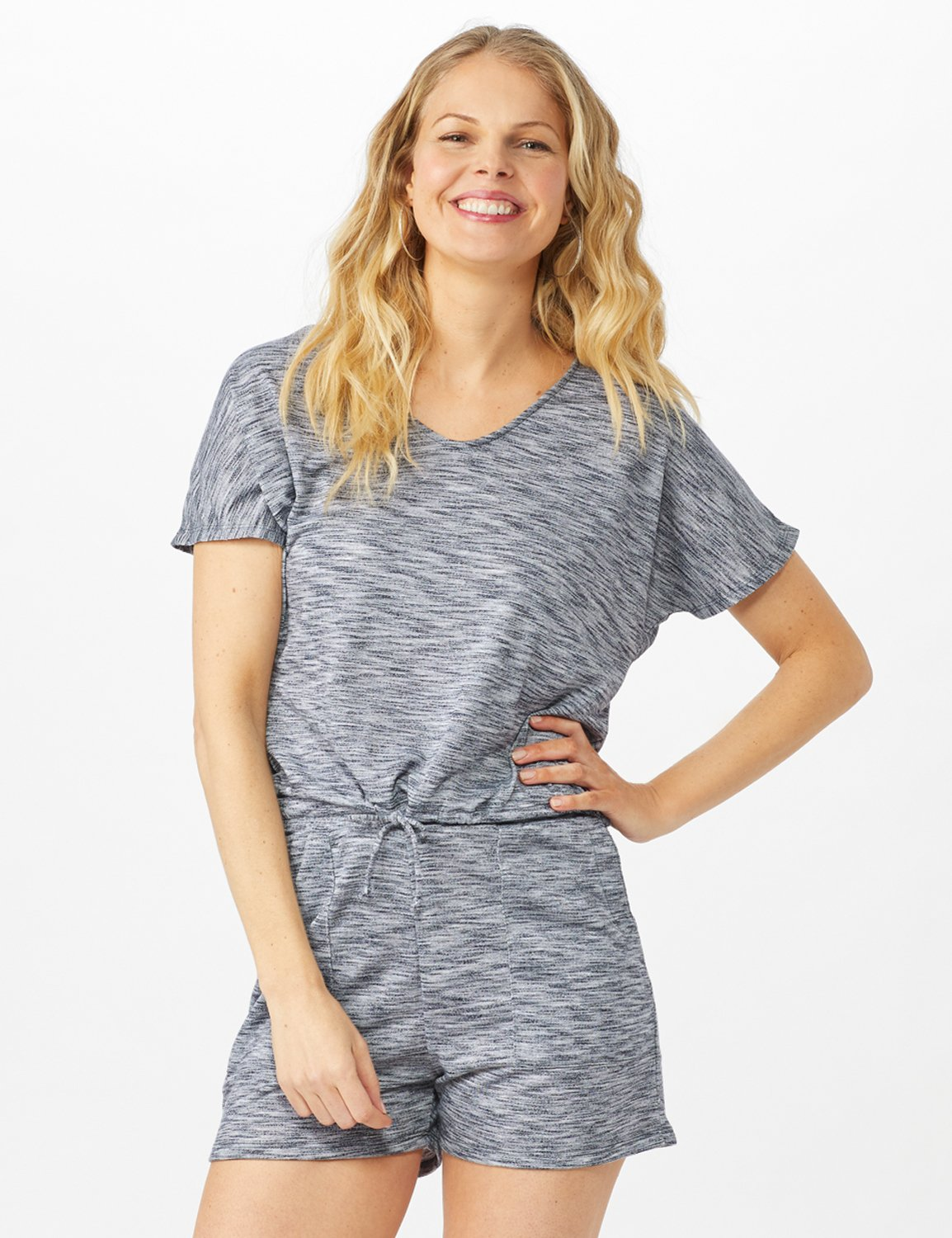 Space Dye French Terry Knit Top -Indigo - Front
