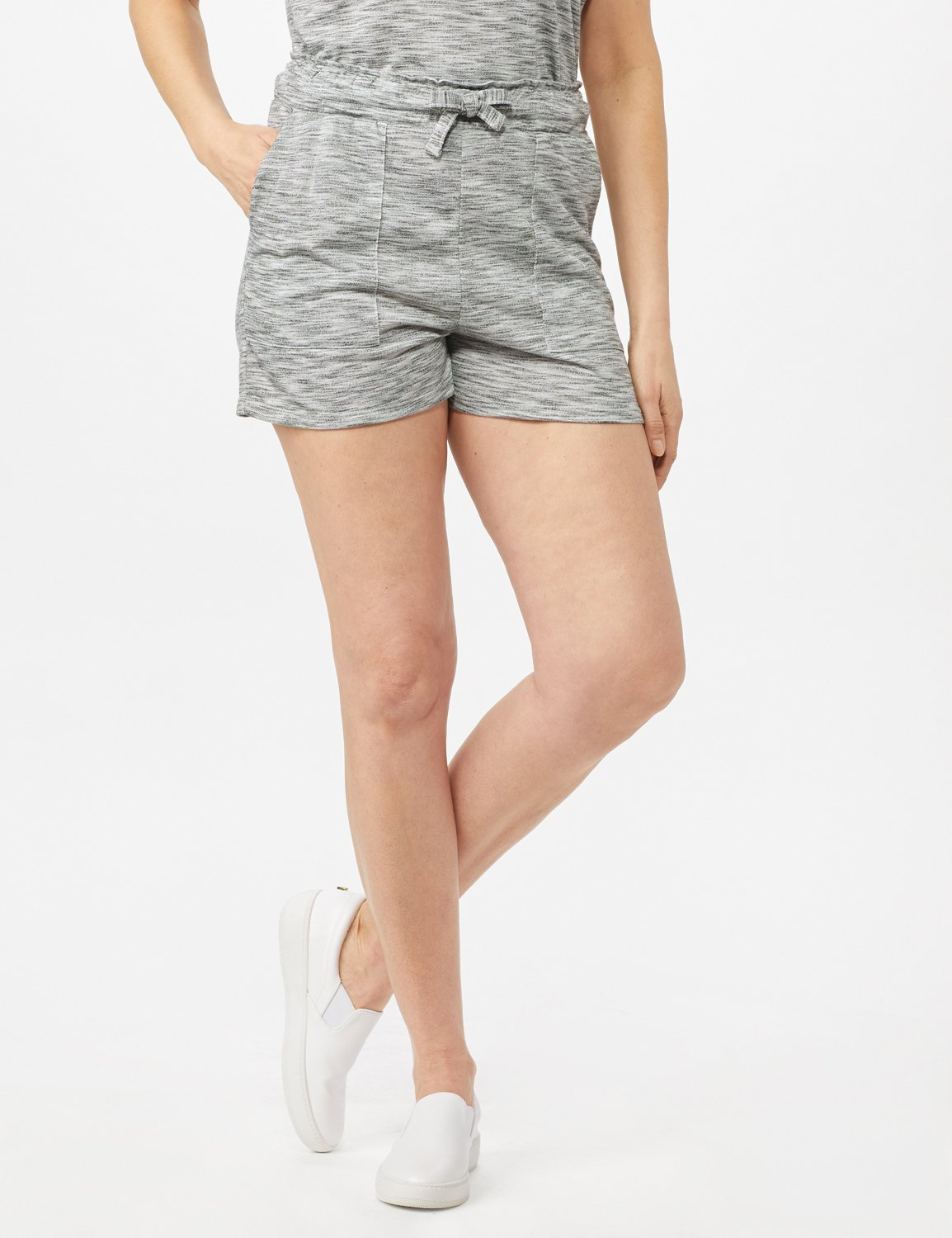 Space Dye French Terry Short -Grey - Front