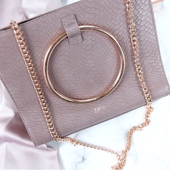 Moda Top Handle Bag (MauveYellow Gold)