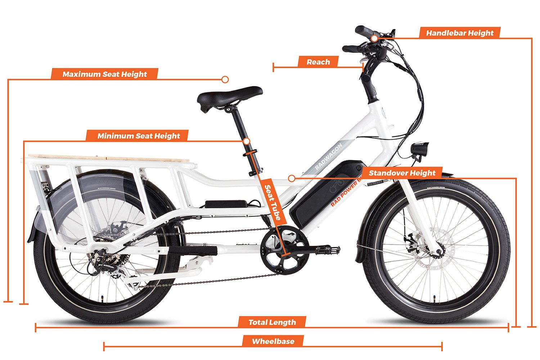 Geometry chart for the RadWagon Electric Cargo Bike Version 4