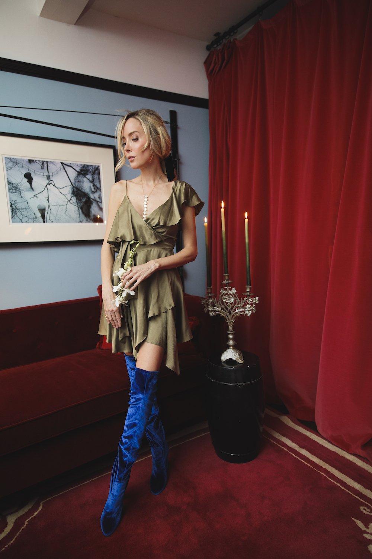 *PRE SALE* Sofia Dress - Olive - Detail