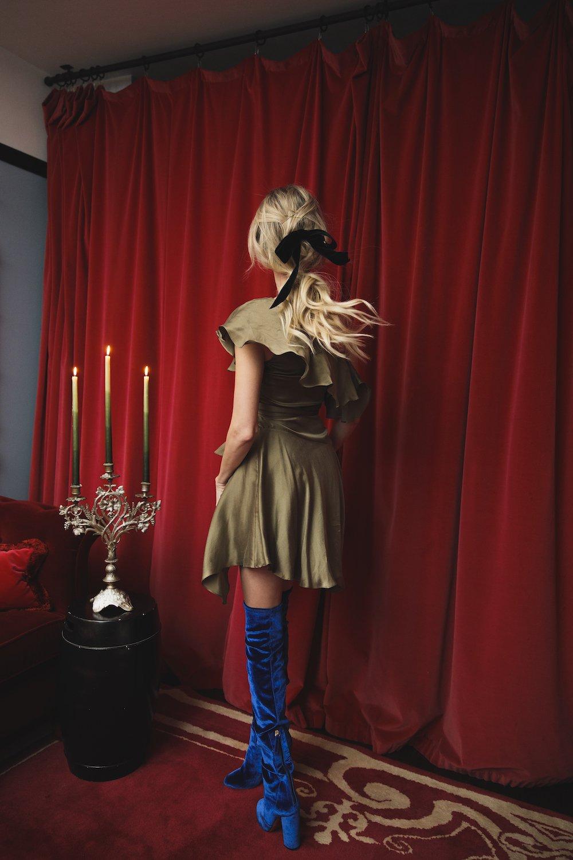 *PRE SALE* Sofia Dress -Olive - Back