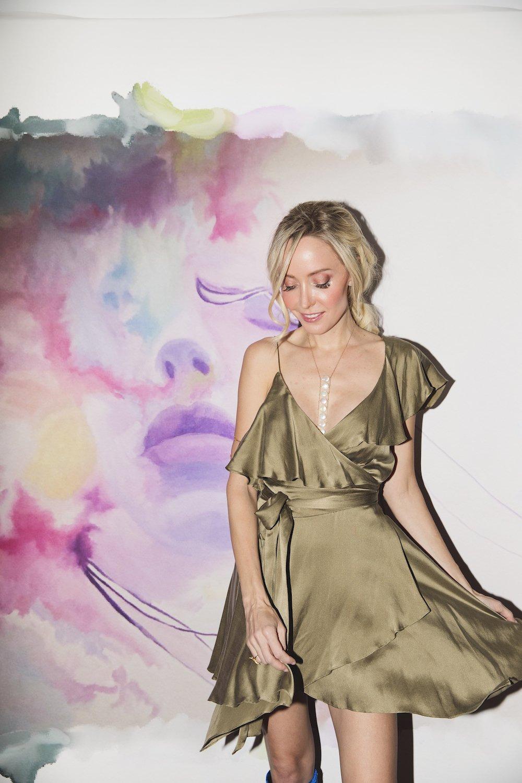 Sofia Dress -Olive - Front