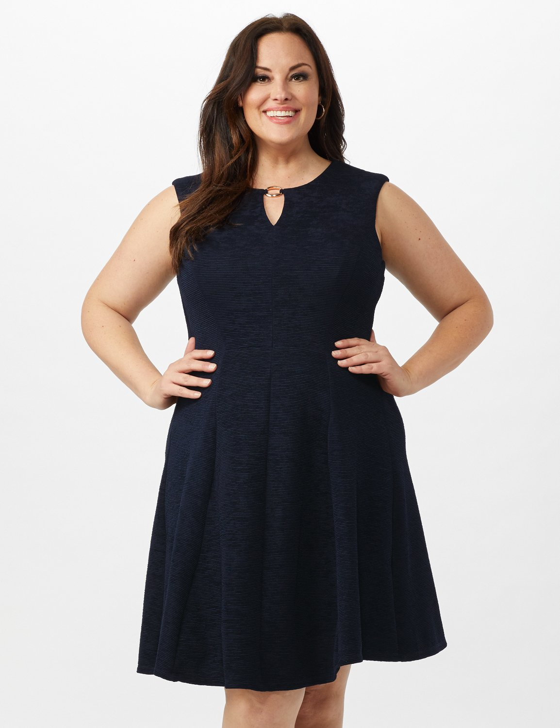 Sleeveless Textured Knit Key Hole Neck with Ring Dress -Navy - Front