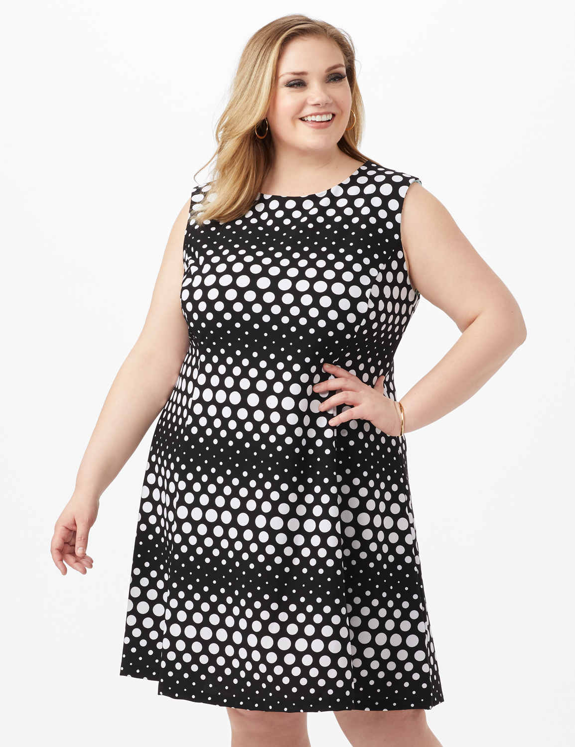 Dotted Stripe Fit and Flare Scuba Dress -Black/White - Front