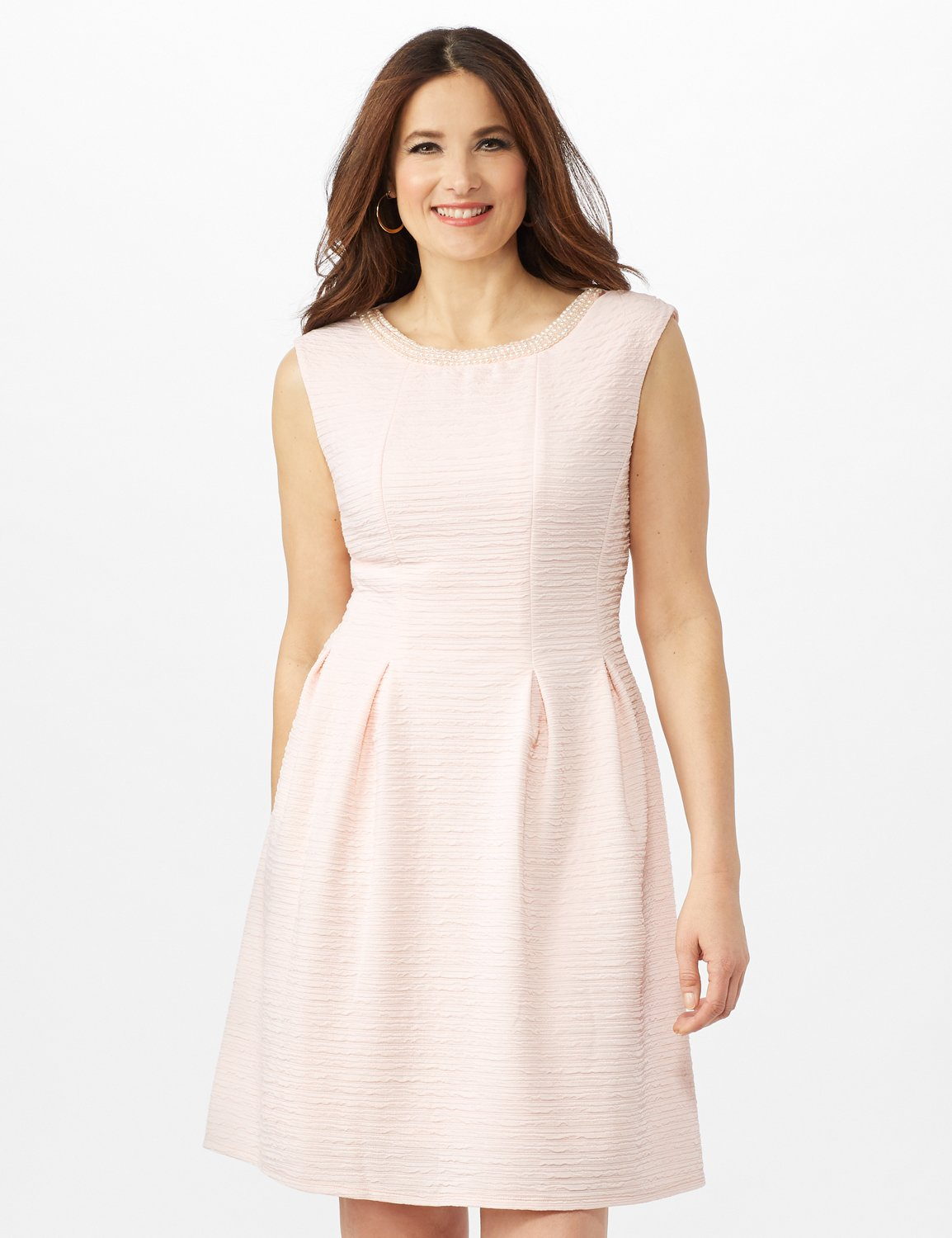 Textures Knit Dress with Embellished Neck -Peach - Front