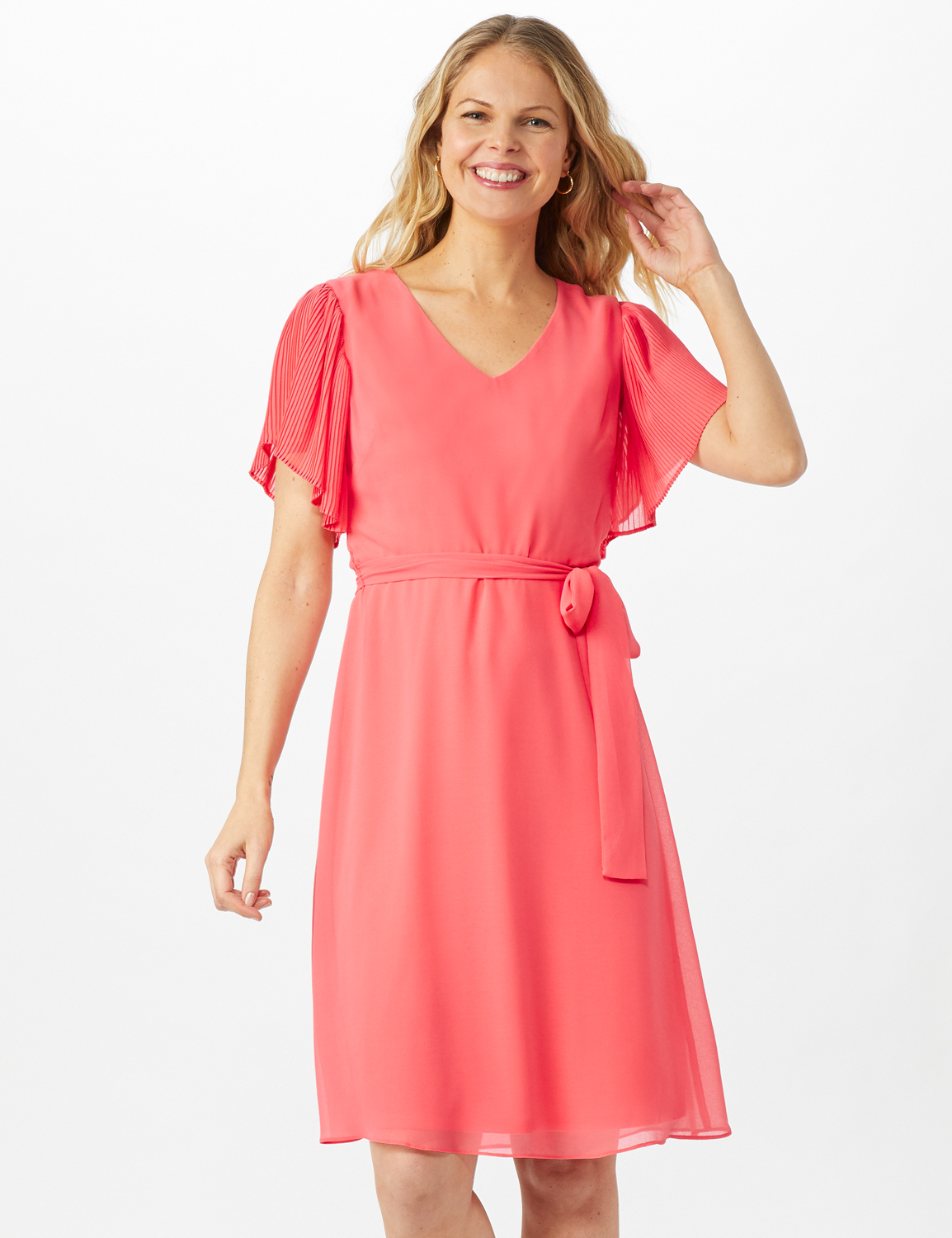 Chiffon Short Pleated Sleeve Dress with Soft Self Fabric Belt -Coral - Front