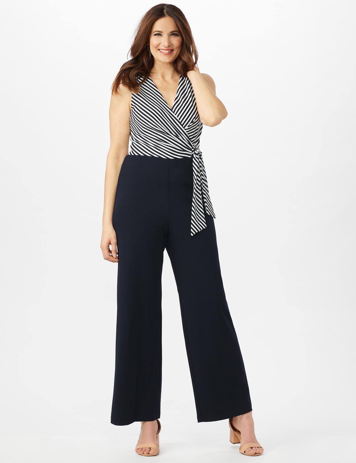 Faux Wrap Side Tie Jumpsuit -Navy/Ivory - Front