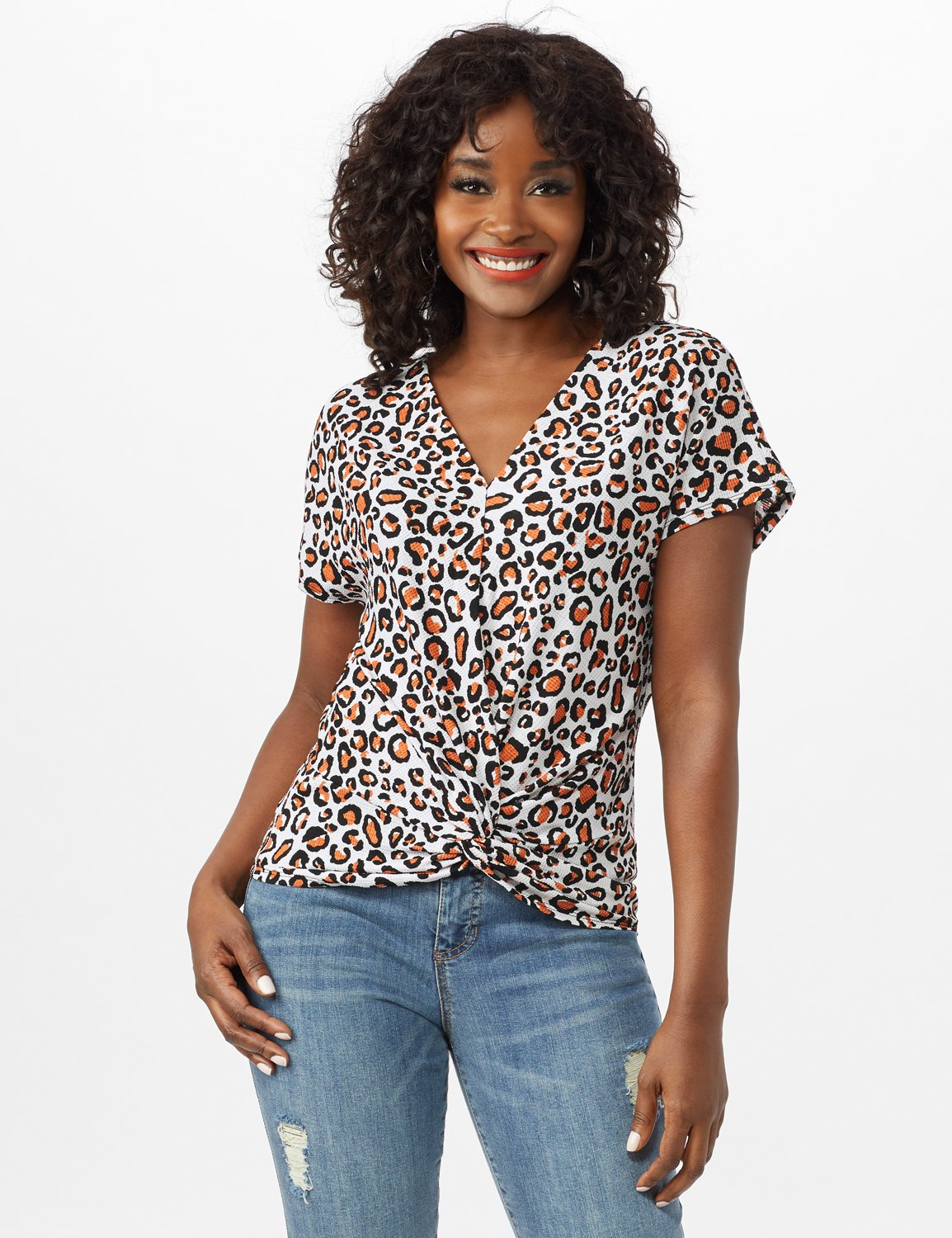 Animal Knot Front Knit Top -White/Brown - Front