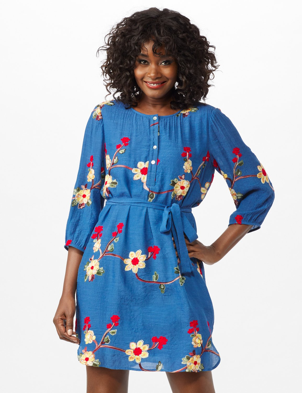 Scoop Neck With Embroidery Self Fabric Belted Dress -Chambray - Front