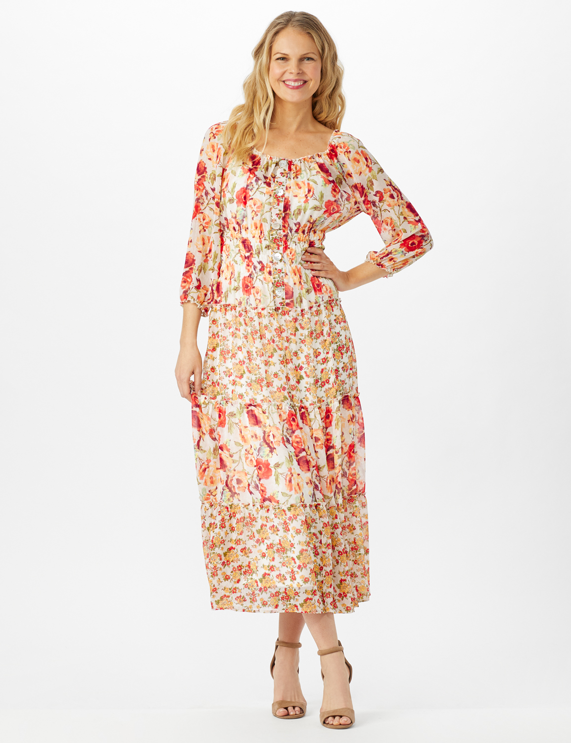 Mixed Ditsy Print Tiered Maxi Peasant Dress -Ivory/Orange - Front