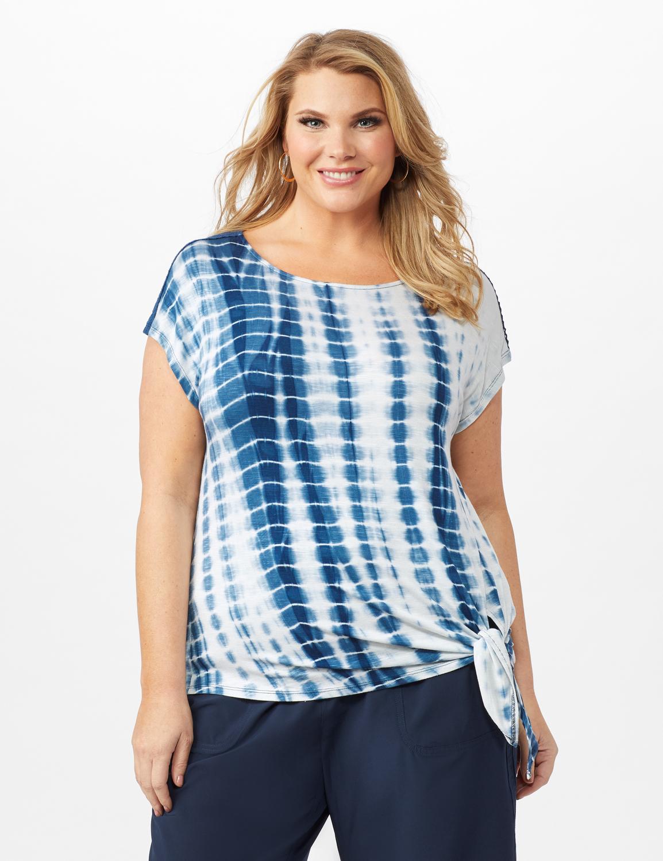Side Tie Crochet Trim Tie Dye Top -Bijou Blue - Front