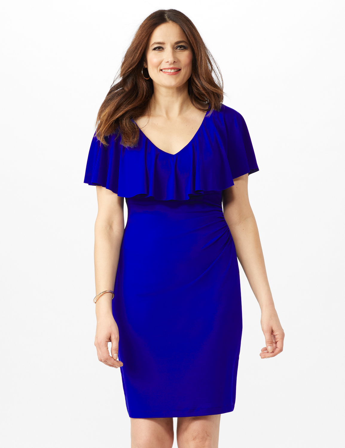 Cascade Ruffle Neck Shirred Waist Dress -Deep Cobalt - Front