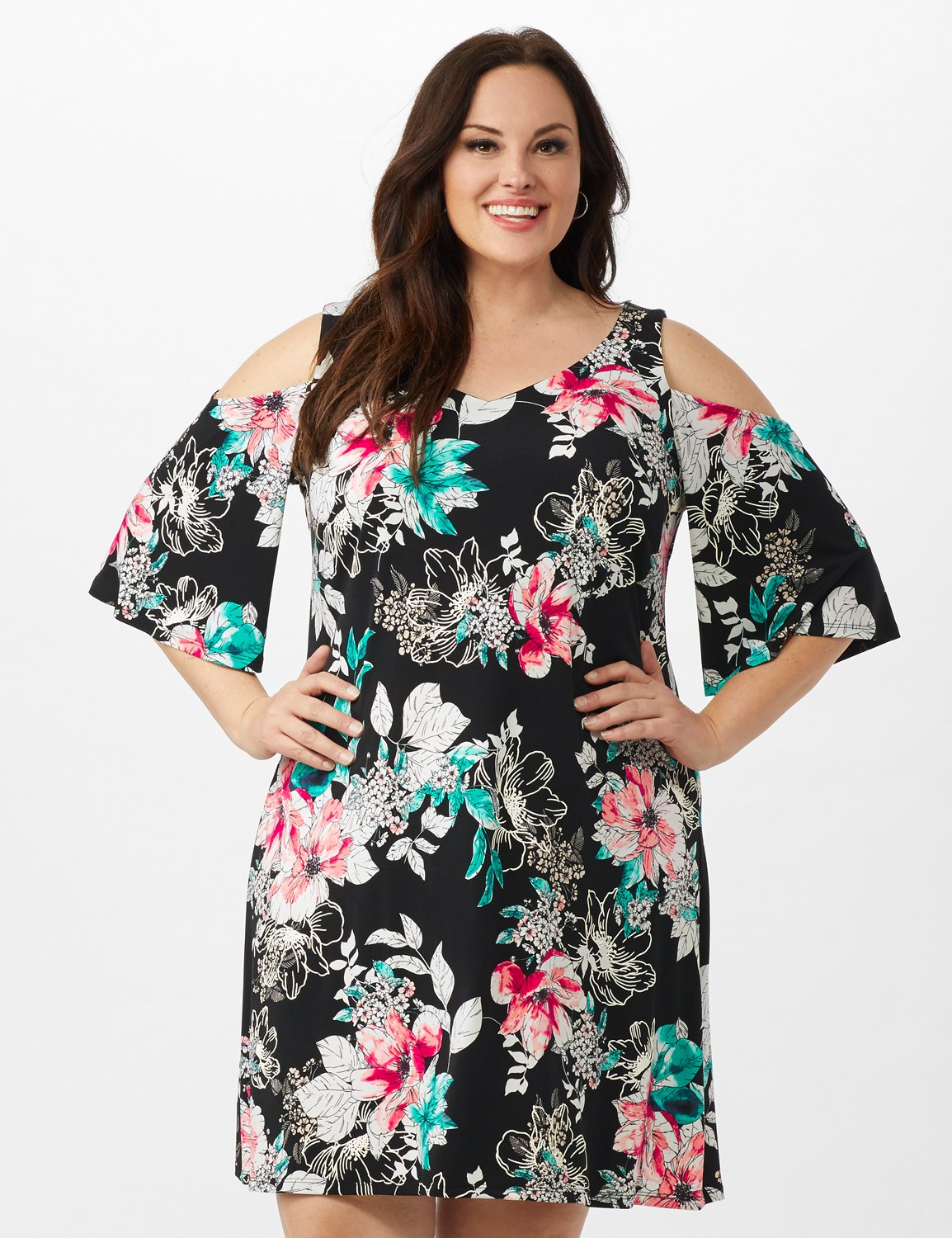 Cold Shoulder Elbow Sleeve Etched Floral Dress -Black - Front