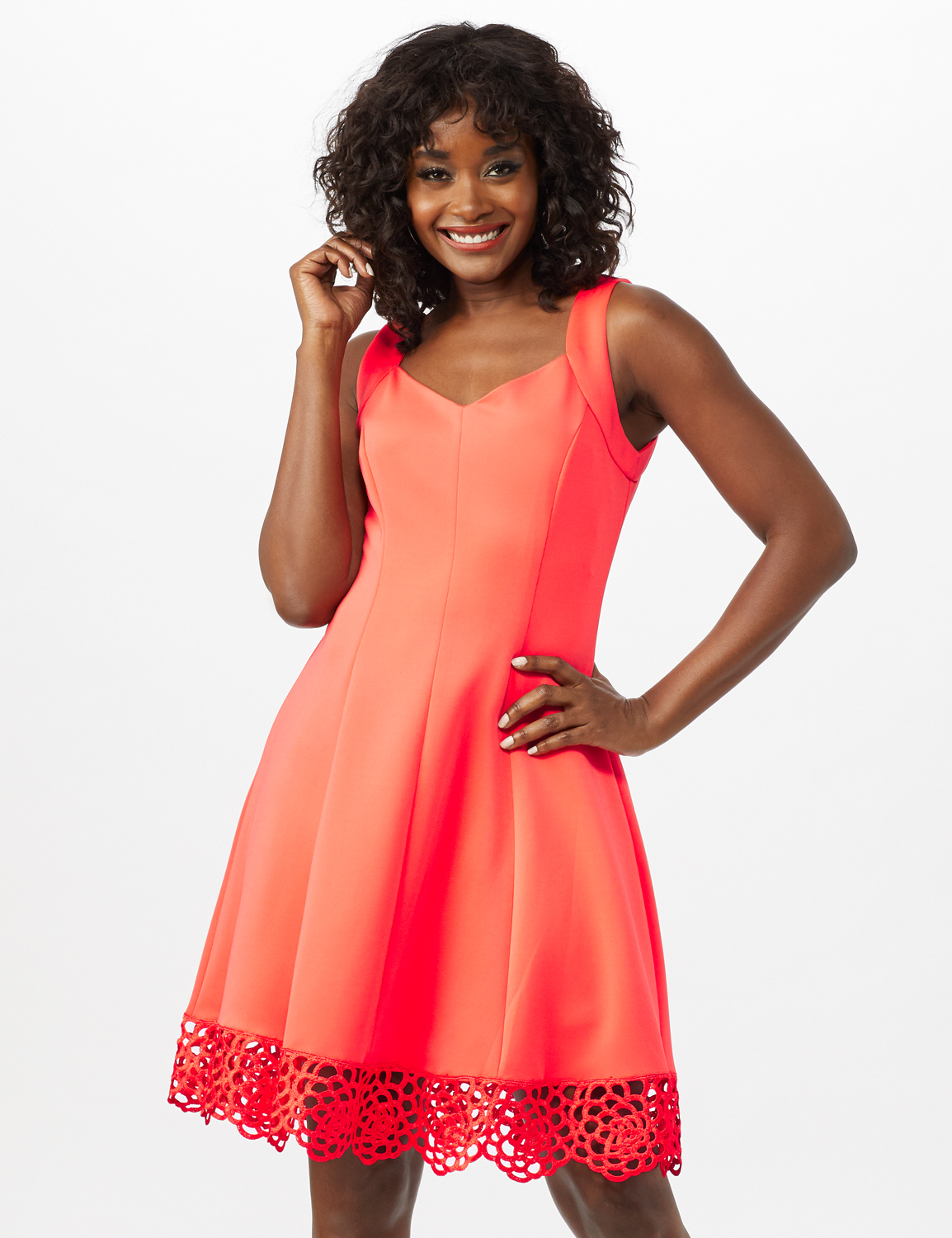 Fit and Flare Scuba Dress with Lace Trim Hem -Coral - Front