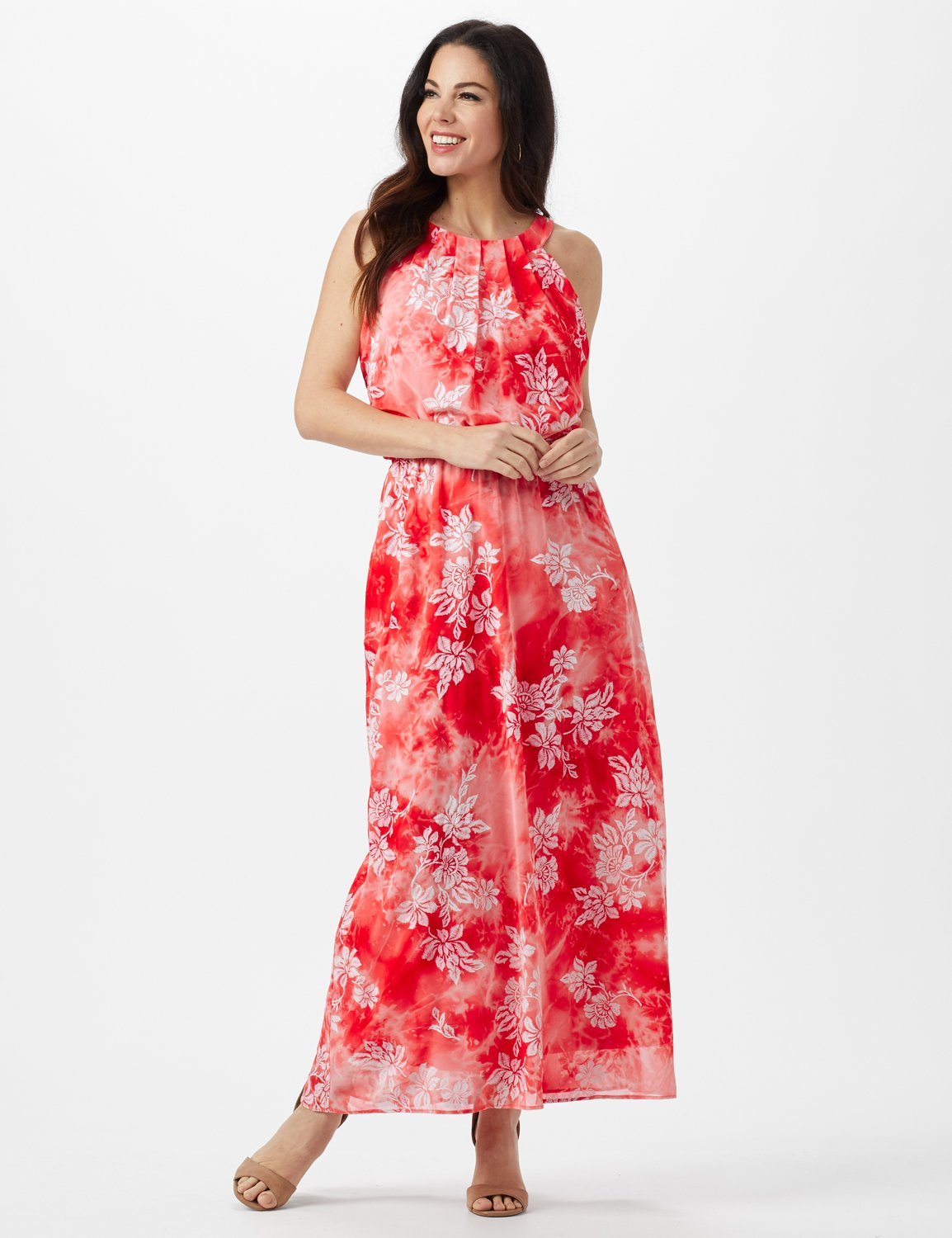 Petite Tie Dye  Floral Maxi Dress -Red - Front