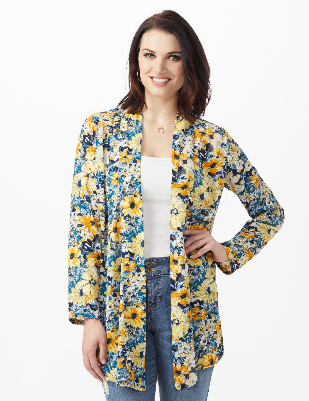 Daisy Print Kimono -Blue - Front