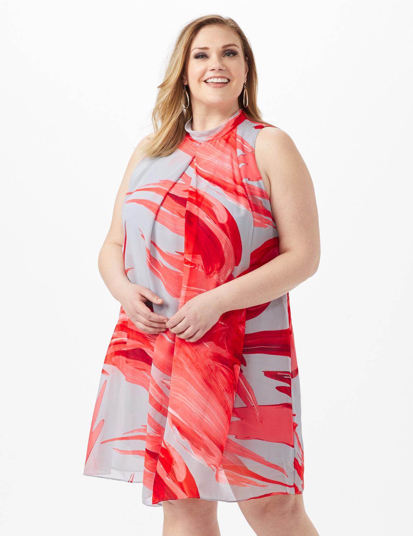 Sleeveless Chiffon Brush Stroke Mock Neck Dress -Grey/Red - Front