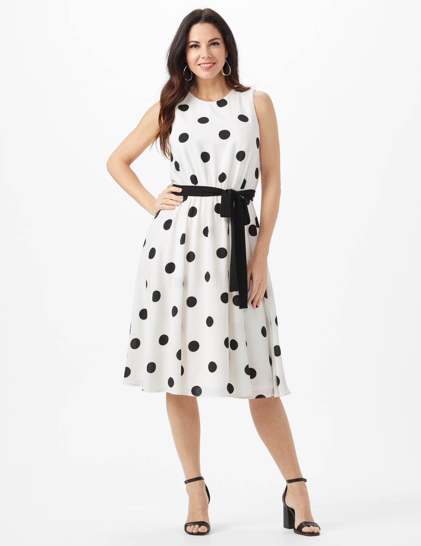 Round Neck Large Dot With Soft Belt Dress -White/Black - Front
