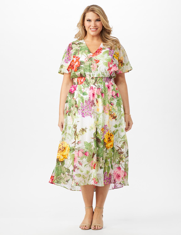 V-neck Chiffon Jacquard Botanical Floral Dress - Plus -Ivory/Rose - Front
