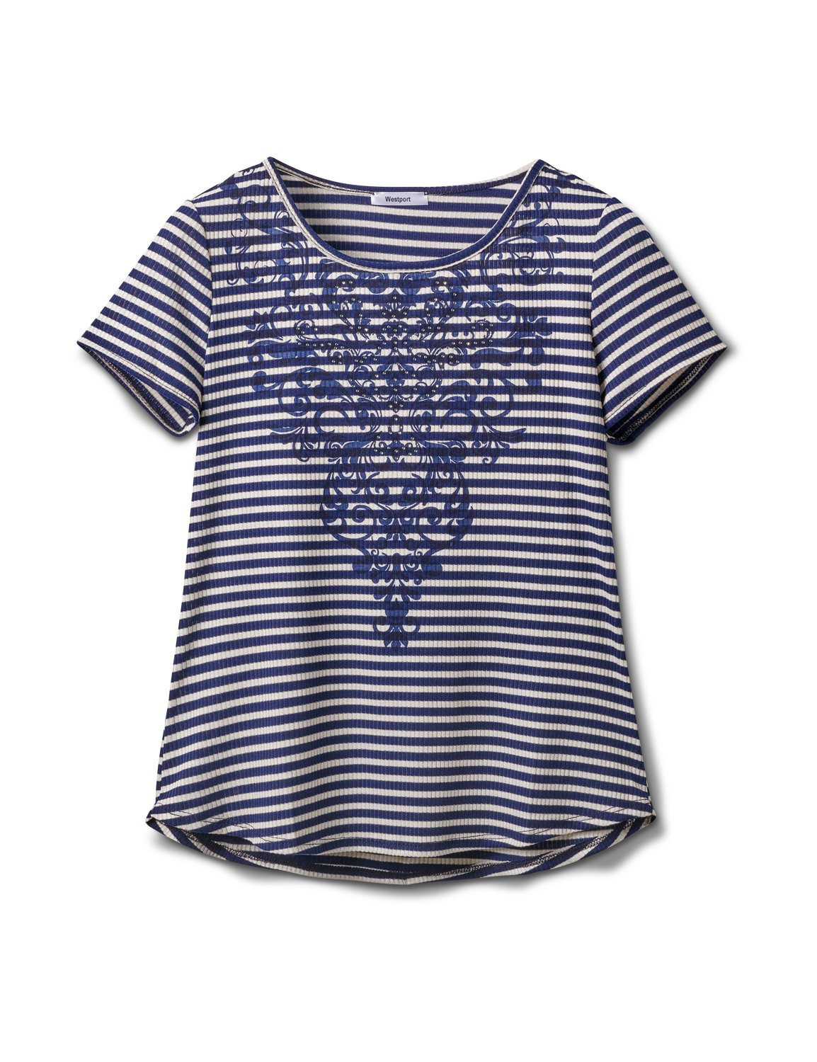 Screen Print Stripe Rib Tee - Misses -Navy - Front