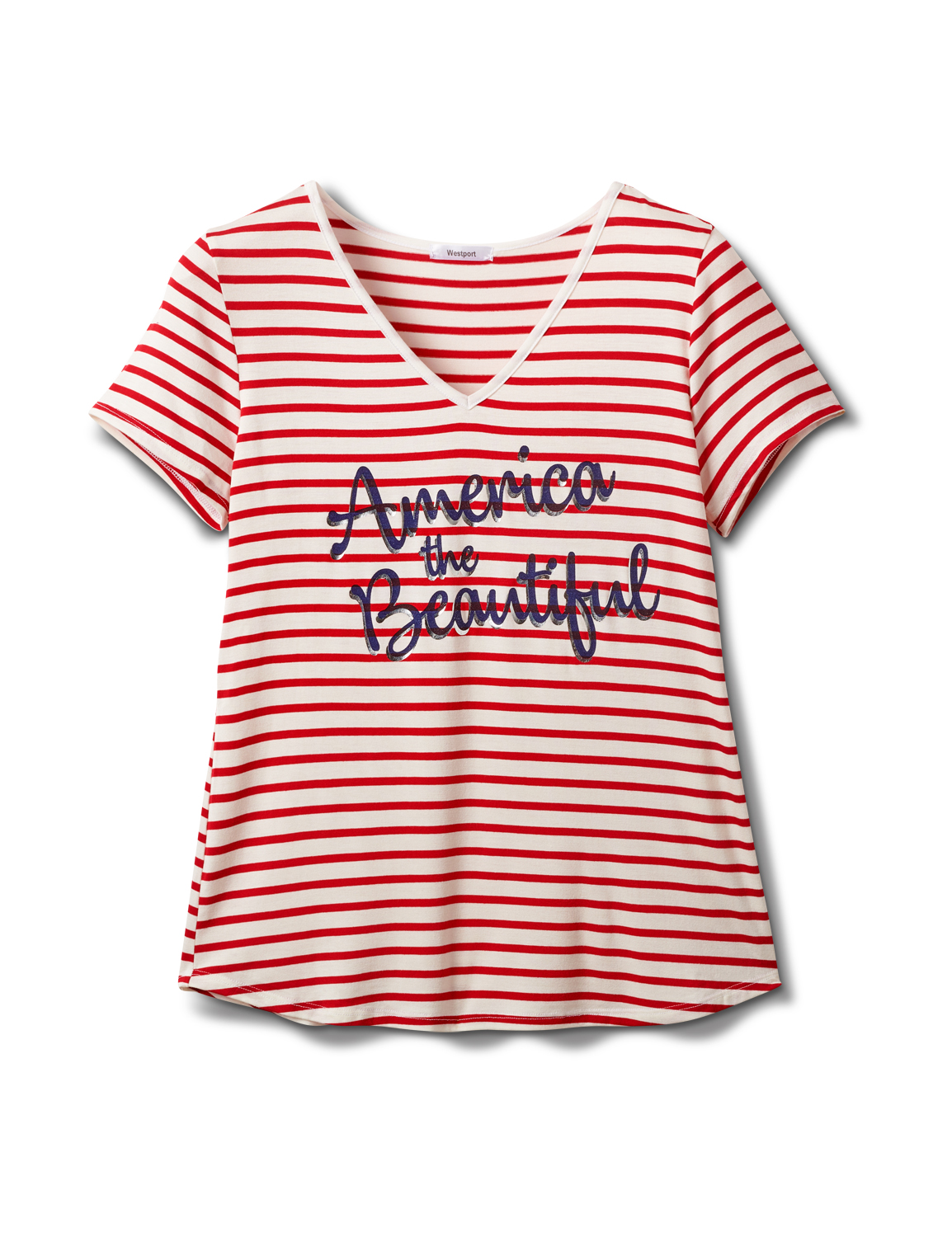 """America The Beautiful"" Stripe Rib Tee -Red - Front"