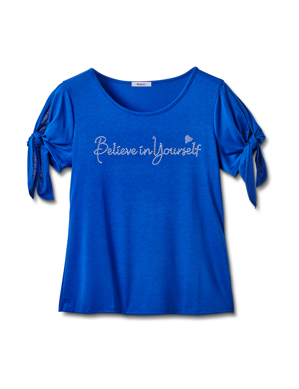 """Believe In Yourself"" Cold Shoulder Tee -Blue - Front"