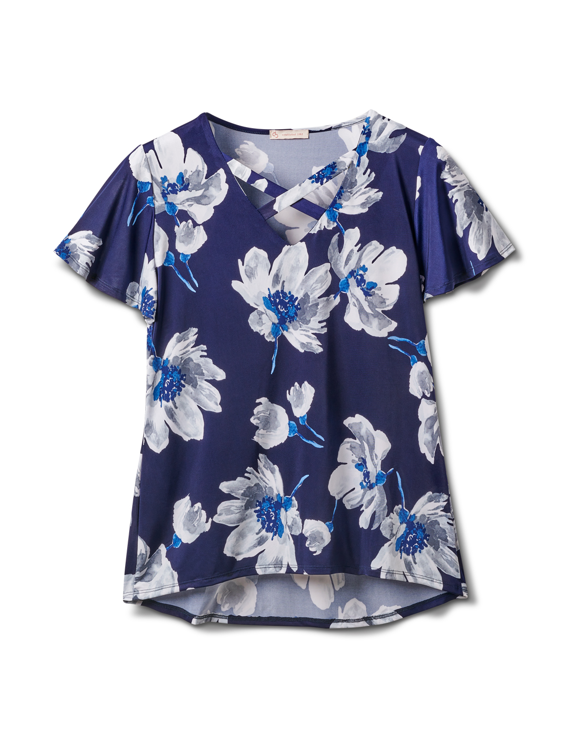 Criss Cross Neck Floral Knit Top -Navy - Front