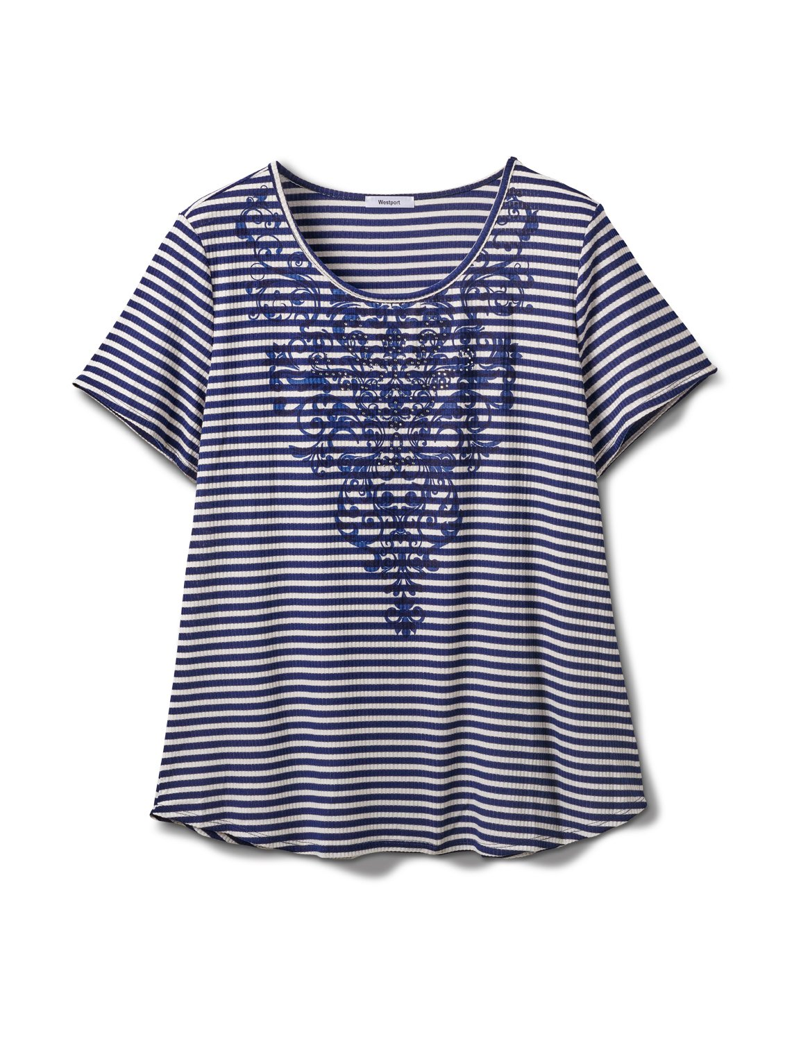 Screen Print Stripe Rib Tee - Plus -Navy - Front