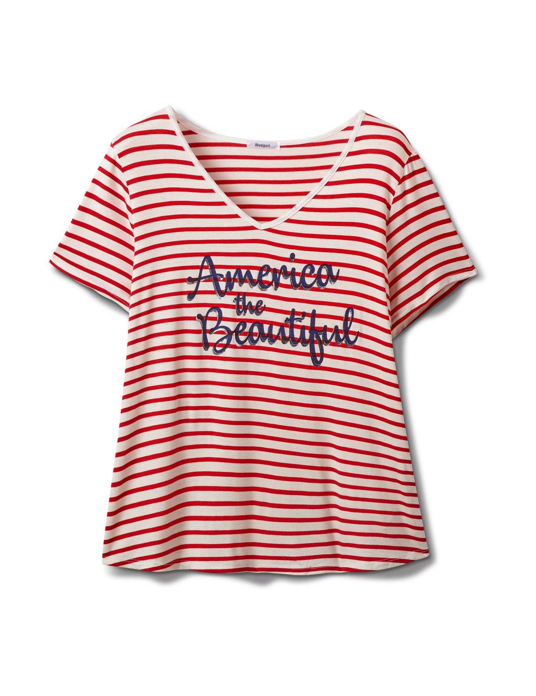 """America The Beautiful"" Stripe Rib Tee - Plus -Red - Front"