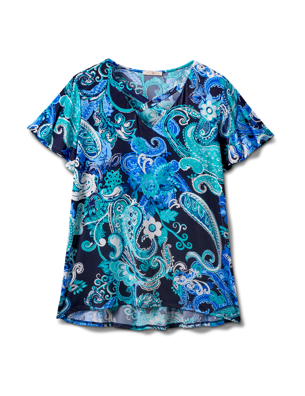 Criss Cross Neck Paisley Knit Top -Navy - Front