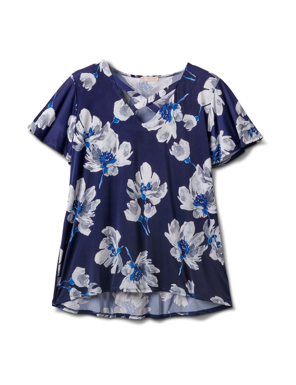 Criss Cross Neck Floral Knit Top - Plus -Navy - Front